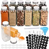 Aozita 14 Pcs Glass Spice Jars with Spice Labels - 8oz Empty Square Spice Bottles - Shaker Lids and Airtight Metal Caps - Cha