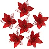 Sea Team 12-Pack Artificial Glitter Poinsettia Christmas Flower Ornaments Tree Decorations, 6.5-inch, Red