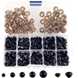 SONKERG 320Pcs Safety Eyes and Noses with Washers, Craft Black Doll Eyes for Amigurumi, Crochet Toy and Stuffed Animals (7 Si