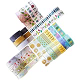 Washi Tape Set - 20 Rolls of Decorative Adhesive with Unique Colorful, Glitter, Floral, Foil Tape Designs - Journal Decoratin