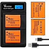 Vemico LI-50B/D-LI92 バッテリー 充電器 2個大容量1050mAh互換バッテリー LCD付きType-c USB充電器 対応機種 Olympus Li-50B/Pentax D-Li92/Ricoh DB-100/SP-720UZ