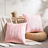 Topfinel Square Decorative Throw Pillow Covers Soft Velvet Outdoor Cushion Covers 18 X 18 for Sofa Bed, Set of 2, Pink