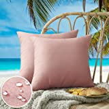 Outdoor Waterproof Throw Pillow Covers Pack of 2 Decorative Square Garden Coral Pink Cushion Case Waterproof PU Coating Pillo