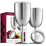 FineDine Premium Grade 18/8 Stainless Steel Wine Glasses 12 Oz. Double-Walled Insulated Unbreakable Goblets (Set of 2) Stemme