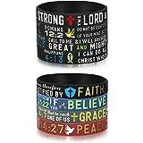 Finrezio 8 PCS Power of Faith Bible Verse Wristbands Black Silicone Bracelets for Men Women Christian Religious Jewelry Gifts