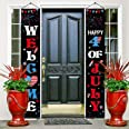 Patriotic Decoration Porch Sign Independence Day Party Stars and Stripes Pattern Welcome Banner Hanging Signs Set for Indoor