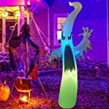 GOOSH 6Foot High Halloween Inflatable Flashing Ghost with Tethers Blow Up Inflatables for Halloween Party Indoor,Outdoor,Tree