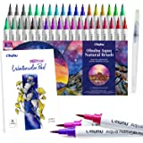 Professional Watercolor Brush Markers Pens Set, Ohuhu 36 Colors Water-based Paint Marker with 12-Sheet Watercolor Pad & A Ble