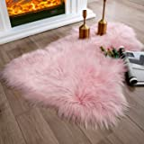 Ashler Soft Faux Sheepskin Fur Chair Couch Cover Area Rug For Bedroom Floor Sofa Living Room 2 x 3 Feet Pink