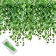 MerryNine Artificial Ivy Leaf, 84 Ft 12 Pack Hanging Vines Garland Fake Ivy Leaves Plants Fake Foliage Flowers Fake Greenery