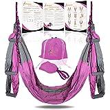 YOGA SWING PRO Premium Aerial Yoga Hammock Trapeze Kit - Antigravity Acrobat Flying Sling Set for Inversion Therapy