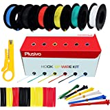 30GA Hook up Wire Kit - 30AWG Silicone Wire - 300V Tinned Stranded Electrical Wire of 6 Different Colors x 66 ft each - Black