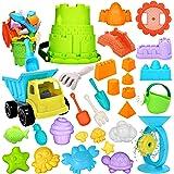 RichSmile 32Pcs Kids Beach Sand Toys Set with Mesh Bag Includes 10 Sand Castle Molds, Water Wheel, Bucket, Sand Shovel Tool K