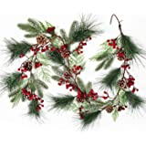 Lvydec Christmas Pine Garland Decoration, 6ft Greenery Christmas Garland with Red Berry Pine Cones Faux Spruce Branch and Pin