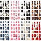 192 Pieces 8 Boxes Short Square False Nails Colorful Artificial Fake Nails Full Cover Fake Fingernails Press on Glossy Artifi