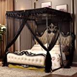 Princess 4 Corners Post Bed Curtain Canopy Netting (Queen, Black)