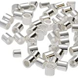 The Beadsmith Tube Crimp Beads, 2.5 x 2.5mm, 100 Pieces, Silver Color, Uniform Cylindrical Shape, No Sharp Edges, Designed to