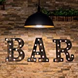 Industrial LED Marquee Letter Lights Alphabet Light Up BAR Sign Vintage Style Letter Lamp for Birthday Party Christmas Perfec