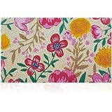 """HLFMVWE Floral Door Mat Outdoor Indoor Front Door Welcome Mat 18""""x30"""" Non Slip Rubber Backing Colorful Doormat Waterproof Qui"""
