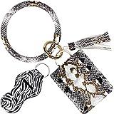 BIHRTC Wristlet Bracelet Keychain Credit Card Pocket Holder PU Leather Purse Holder Tassel Keychain Bangle Key Ring for Women