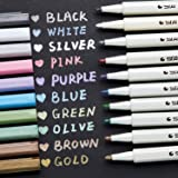 Ohuhu Metallic Markers Glitter Paint Pen Fine Tip, Set Of 10 Premium Window Marker For Diy Card Making, Coloring Books, Scrap