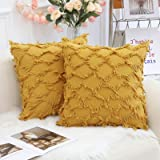decorUhome Mustard Yellow Decorative Throw Pillow Covers Set of 2 18 x 18 Inch Farmhouse Cotton Linen Cushion Cases for Bed C