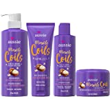Aussie Miracle Coils Collection, Shampoo, Conditioner, Shaping Jelly & Stretching Cream, Made with Australian Macadamia Nut O