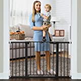 """Cumbor 51.6"""" Baby Gates Extra Wide for Stairs and Doorways, Durable Safety Dog Gate for The House, Easy Walk Thru Auto Close"""