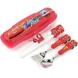 Disney Lightning McQueen Fork Spoon Training Chopsticks Flatware Utensil Cutlery Dinnerware Tableware Set with Case, 4 pieces