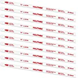 """HAUTMEC Hacksaw Replacement Blades BI-METAL (10 Pack) High Speed Steel Grounded Teeth 32 TPI x 12"""" Length 0.025"""" Thick x 1/2"""""""