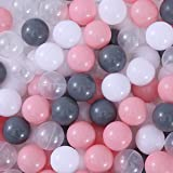 MoonxHome Ball Pit Balls Crush Proof Plastic Children's Toy Balls Macaron Ocean Balls 2.15 Inch Pack of 100 White&Transparent