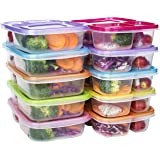 Meal Prep Containers 3 Compartment Food Storage Reusable Plastic Bento Microwavable Lunch Boxes with Lids BPA-Free 10-Pack,St