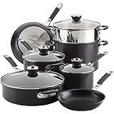 Anolon 87543 Smart Stack Hard Anodized Nonstick Cookware Pots and Pans Set, 11 Piece, Black