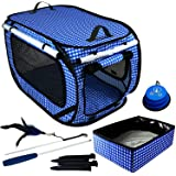 """Pet Fit For Life Extra Large (32""""x19""""x19"""") Collapsible/Portable Cat Cage/Condo with Portable Litter Box and Bonus Cat Feather"""