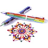 Multicolor Pens - 12 Pack of 6-in-1 Retractable Ballpoint Pens - 6 Vivid Colors in Every Pen - Best for Smooth Writing - By H