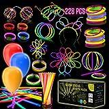 Eurostar Ventures Multicolor Glow Sticks Bulk Party Pack Non Toxic 228 Pieces Light Stick Set