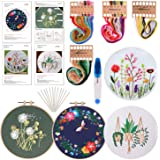 FEPITO 7 Pcs Embroidery Starter Kit with Pattern and Instructions Cross Stitch Kit Including 4Pcs Embroidery Clothes with Flo