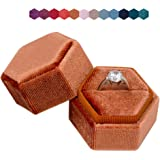 The Lux Box: Gorgeous Antique Velvet Geometric Ring Boxes for Proposals and Wedding Photos    Hexagon and Oval    Single or D