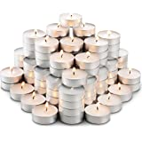 MontoPack Unscented Tea Lights Candles in Bulk | 100 White, Smokeless, Dripless & Long Lasting Paraffin Tea Candles | Small V