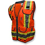 Radians SV55 Class 2 Heavy Woven Two Tone Engineer Vest with Padded Neck to Support Extra Weight in Cargo Pockets, Hi Viz Gre