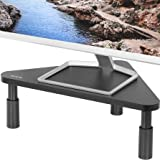 VIVO Corner 17 inch Monitor Riser, Wood & Steel Desktop Height Adjustable Stand | Ergonomic Desk and Tabletop Organizer, Blac
