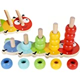 TOWO Wooden Stacking Rings Baby –Lovely Caterpillar Counting Game - Colour Sorting Puzzle - 5 Pegs Ring Stacker - Counting Ri