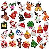 30pcs Mini Resin Christmas Ornaments Tree Decorations - Small Christmas Tree Ornaments with Santa Claus, Snowman, Reindeer an