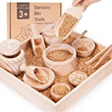Sensory Bin Tools with Wooden Box, Montessori Toys for Toddlers, Sensory Toys, Set of 12 Wooden Scoops and Wooden Tongs for T