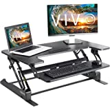 "VIVO Height Adjustable Standing Desk Sit to Stand Gas Spring Riser Converter | 36"" Tabletop Workstation fits Dual Monitor (DE"