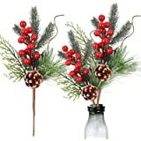 Meiliy 10pcs Christmas Picks Holly Red Berry Stems 12inch Pinecone Branches Christmas Craft Supplier Floral Arrangement for C