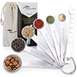 Stainless Steel Metal Measuring Spoons Set of 7 - Premium Quality Food Grade Tablespoon to ⅛ Teaspoon - Measure Your Baking a