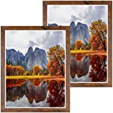 DBWIN 16x20 Picture Frame Rustic Brown Wood Pattern Poster Frame Plexiglass Front 2 Pack for Art Prints Puzzles Murals Wall D