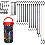"""Best Choice 24-Piece Premium Bungee Cord Assortment in Storage Jar - Includes 10"""", 18"""", 24"""", 32"""", 40"""" Bungee Cords and 8"""" Can"""