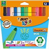 BIC Kids Visacolor XL Colouring Felt Tip Pens Extra Wide Point - Assorted Colours, Pack of 12 Markers